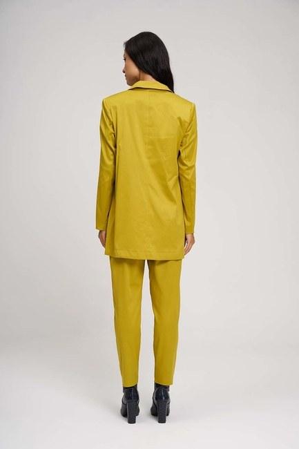 Saten Tasarım Uzun Ceket (Safran) - Thumbnail