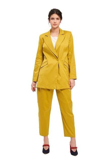 Mizalle - Saten Tasarım Uzun Ceket (Safran)