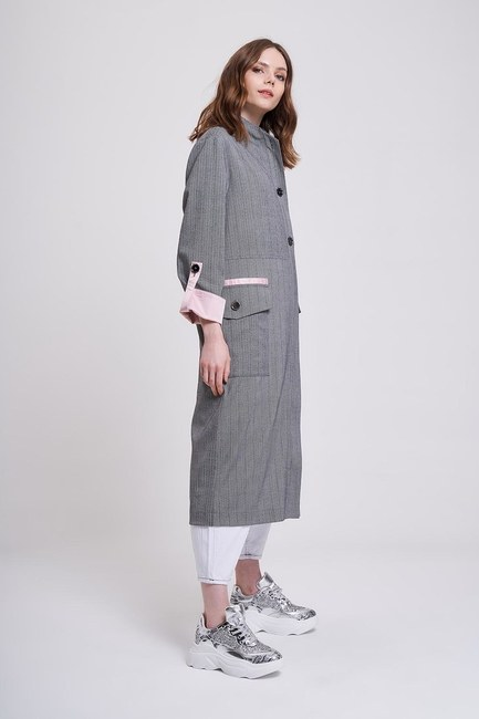 MIZALLE YOUTH - Satin Piped Trench Coat (Grey) (1)