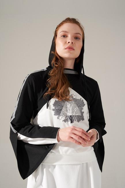 Scuba Ağaç Baskılı Sweatshirt (Beyaz) - Thumbnail