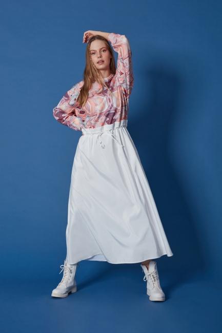 Mizalle - Scuba Baskılı Parçalı Desenli Elbise