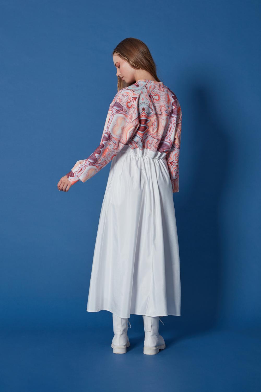 Scuba Baskılı Parçalı Desenli Elbise