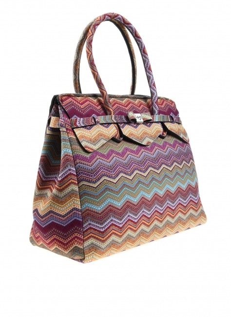 Large Fabric Shoulder Bag (Ethnic) - Thumbnail