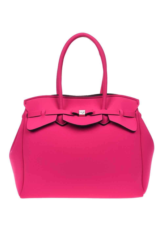 MIZALLE Large Fabric Shoulder Bag (Fuchsia) (1)