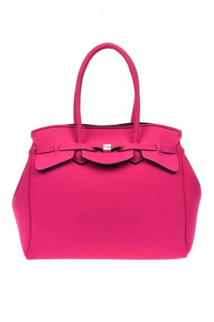 MIZALLE - Large Fabric Shoulder Bag (Fuchsia) (1)