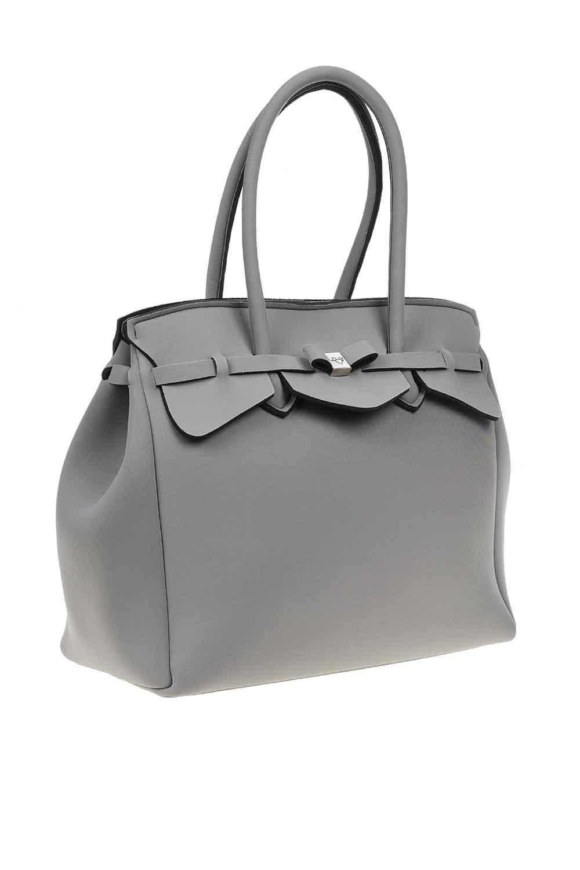 MIZALLE حقيبة كتف سكوبا قماش كبيرة (رَمَادِيّ) (1)