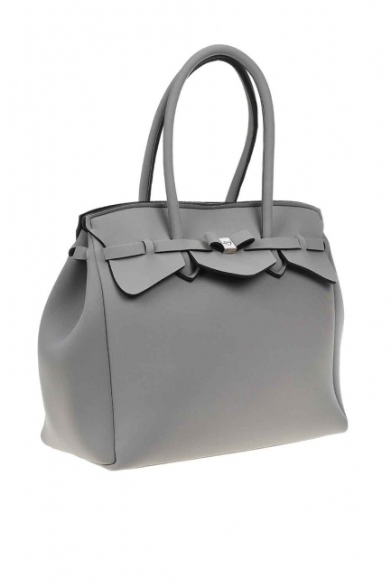 Large Fabric Shoulder Bag (Grey) - Thumbnail