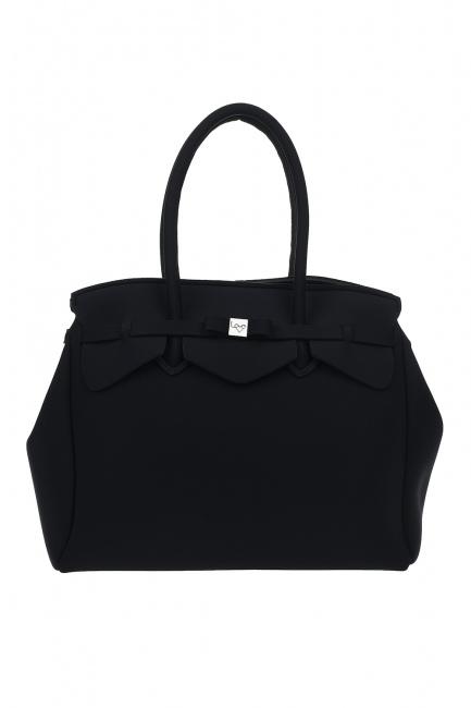 MIZALLE حقيبة كتف قماش سكوبا كبيرة (أسود)