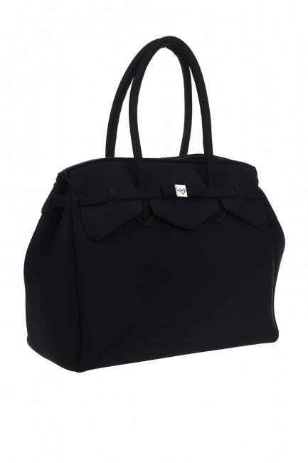 MIZALLE - حقيبة كتف قماش سكوبا كبيرة (أسود) (1)