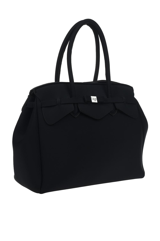 MIZALLE Large Fabric Shoulder Bag (Black) (1)