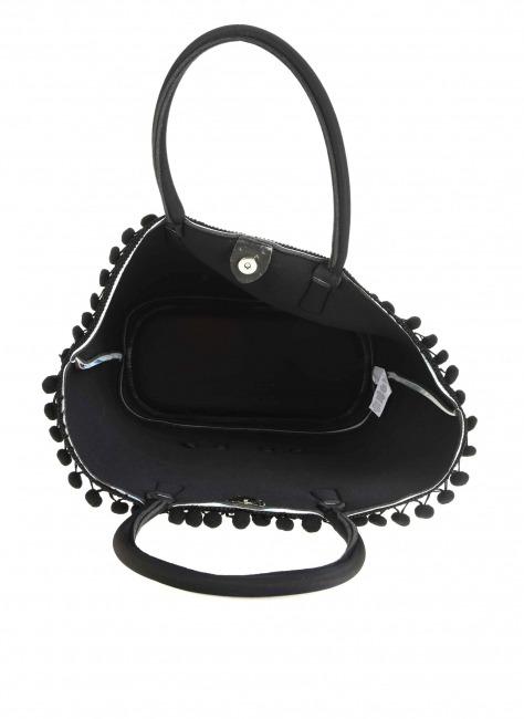 Scuba Kumaş Ponpon Detaylı Çanta (Alaçatı) - Thumbnail