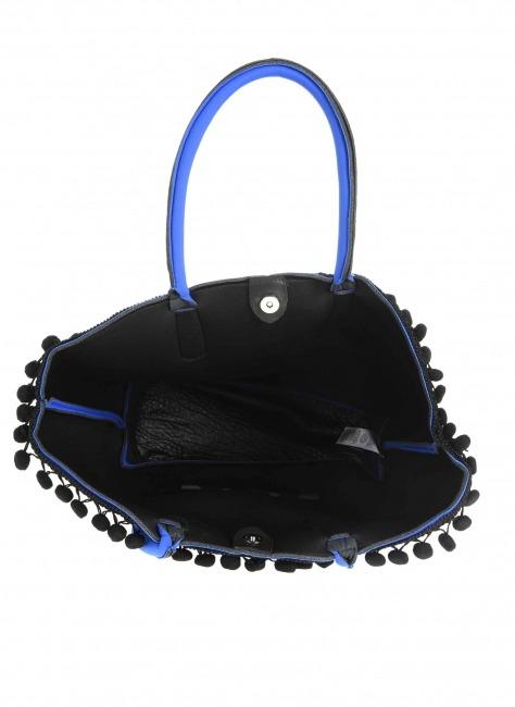 Scuba Kumaş Ponpon Detaylı Çanta (Saks Mavisi) - Thumbnail