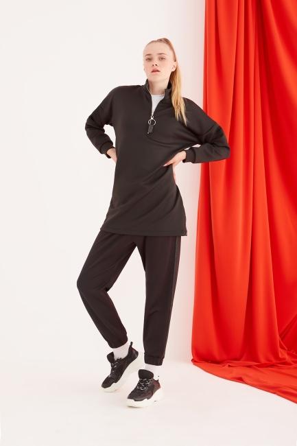 Mizalle - Scuba Sim Şeritli Siyah Pantolon