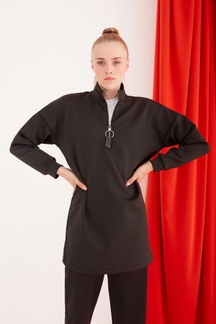 Mizalle - Scuba Sim Şeritli Siyah Sweatshirt