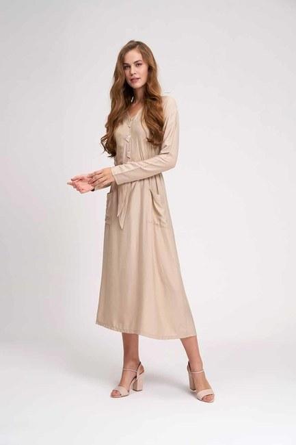Sedef Düğmeli Viskon Uzun Elbise (Bej) - Thumbnail