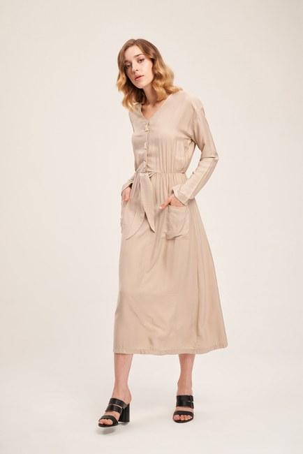 Mizalle - Sedef Düğmeli Viskon Uzun Elbise (Bej)