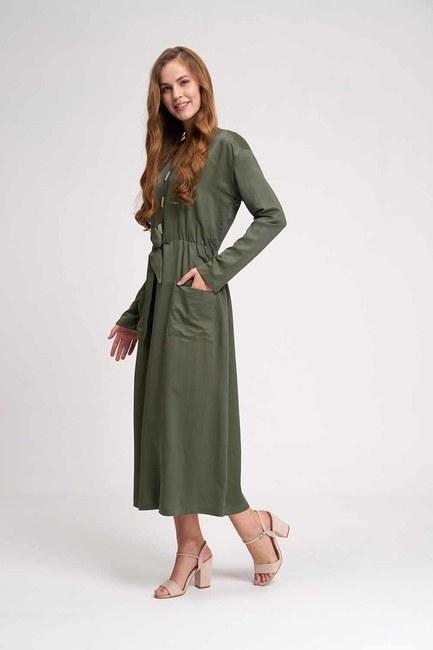 Sedef Düğmeli Viskon Uzun Elbise (Haki) - Thumbnail