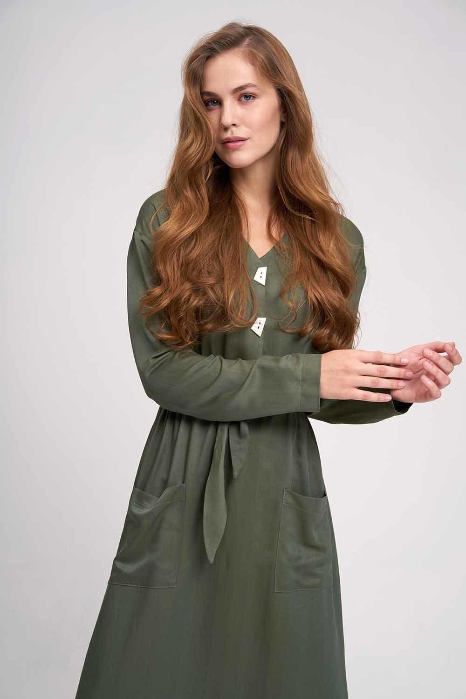 MIZALLE Sedef Düğmeli Viskon Uzun Elbise (Haki) (1)