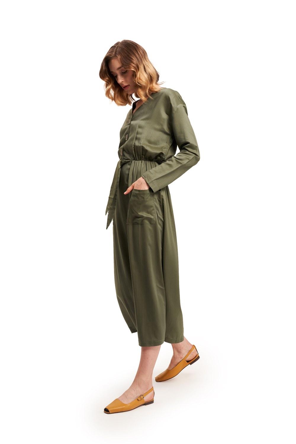 Sedef Düğmeli Viskon Uzun Haki Elbise