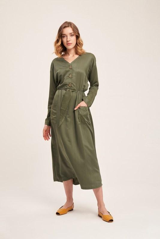 Sedef Düğmeli Viskon Uzun Elbise (Haki)