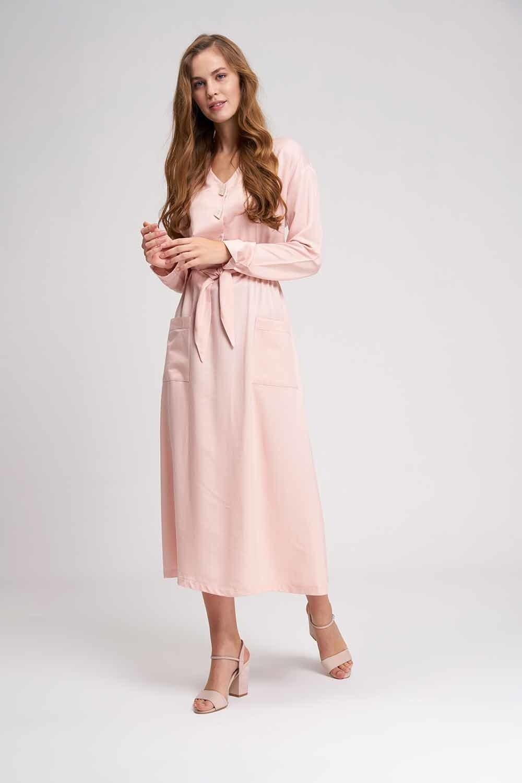 MIZALLE Sedef Düğmeli Viskon Uzun Elbise (Pudra) (1)