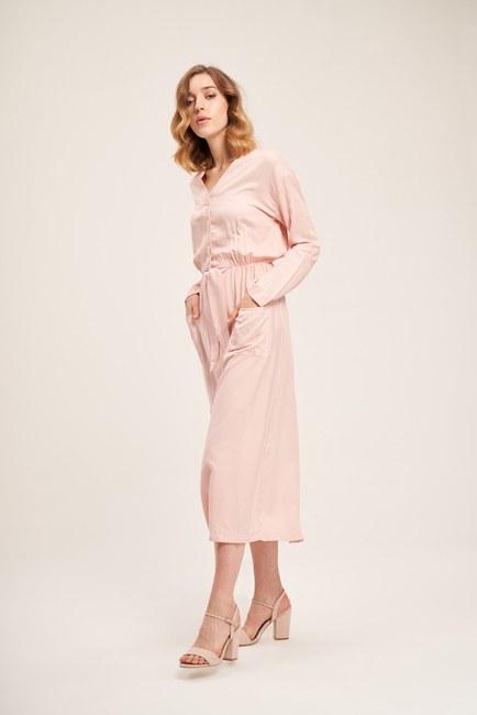 Sedef Düğmeli Viskon Uzun Elbise (Pudra) - Thumbnail
