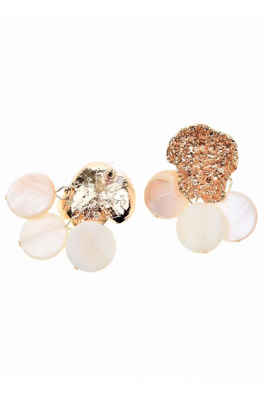 MIZALLE Sedef Görünümlü Taşlı Küpe (St) (1)