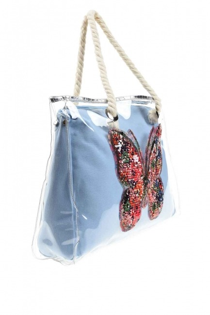 MIZALLE - حقيبة الشاطئ الشفافة (الفراشة) (1)