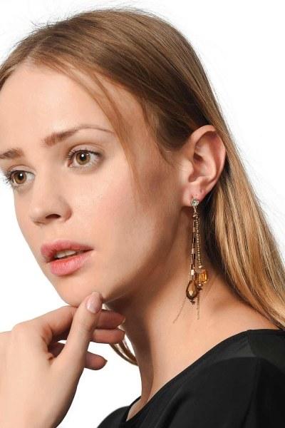 Earrings With Transparent Stone (Multi) - Thumbnail