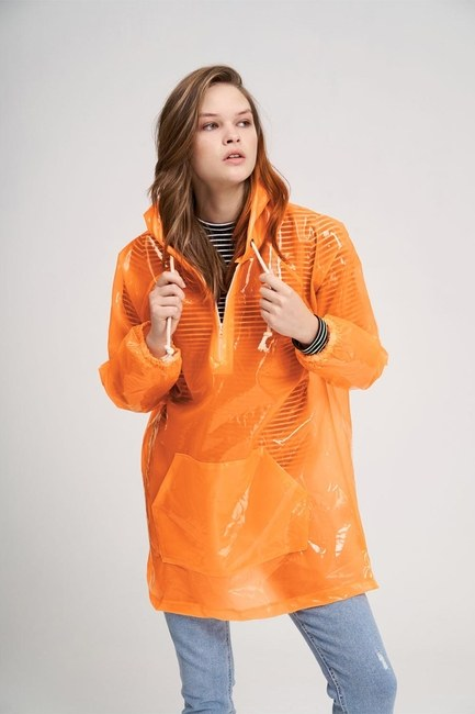 MIZALLE YOUTH - Transparent Raincoat (Orange) (1)