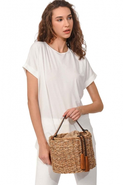 Basket Type Wicker Hand Bag (Beige) - Thumbnail