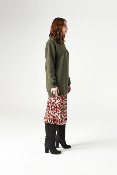 MIZALLE - Sequin Detailed Sweatshirt (Khaki) (1)