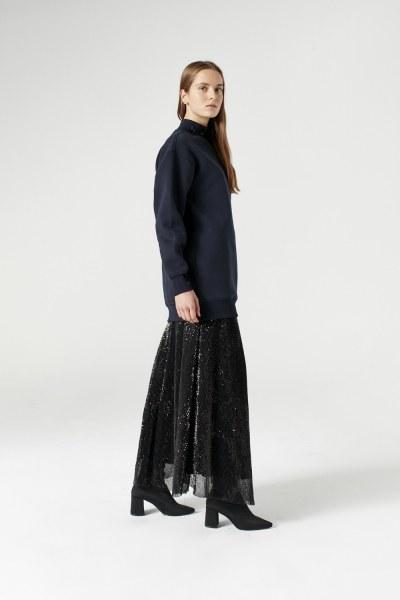 MIZALLE - Sequin Detailed Sweatshirt (Navy Blue) (1)