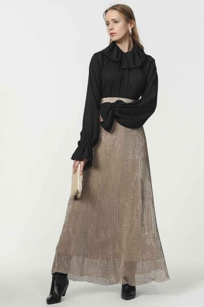 MIZALLE - Sequin Skirt (Beige) (1)