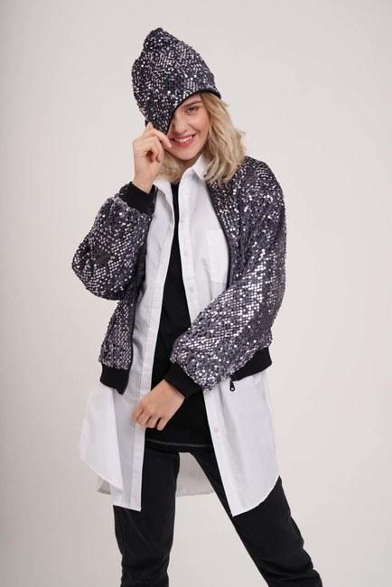 MIZALLE - قبعة مطرزة (رمادي) (1)