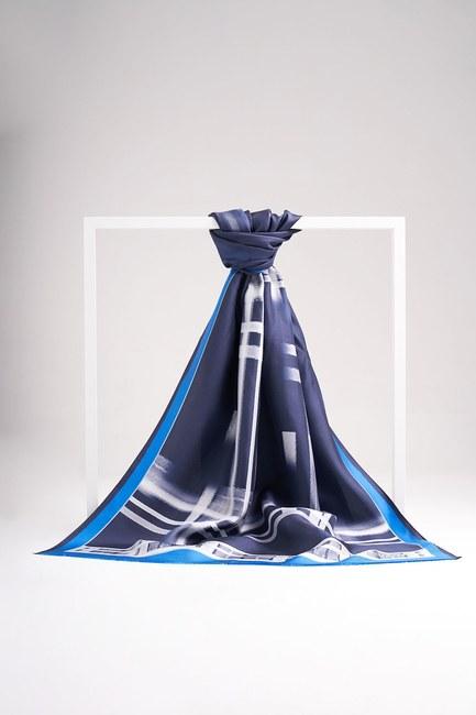Şerit Desenli Şal (Mavi) - Thumbnail