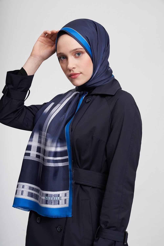 Şerit Desenli Şal (Mavi)