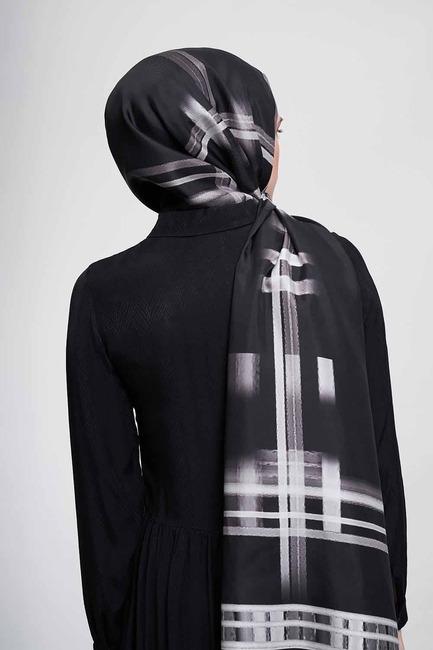Şerit Desenli Şal (Siyah) - Thumbnail