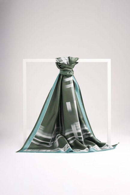 Şerit Desenli İpek Şal (Yeşil) - Thumbnail