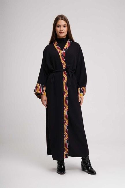 Stripe Patterned Long Kimono (Black) - Thumbnail