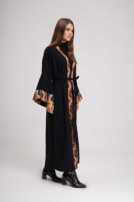 Şerit Desenli Uzun Kimono (Siyah) - Thumbnail