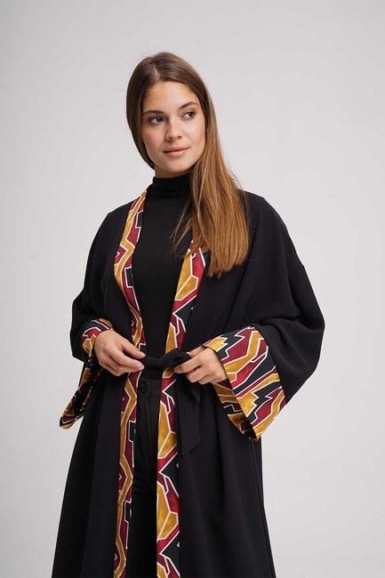 MIZALLE - Şerit Desenli Uzun Kimono (Siyah) (1)