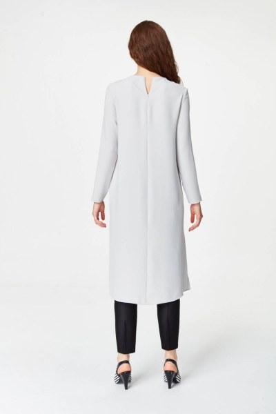 Şerit Detaylı Arkası Uzun Tunik Elbise (Gri) - Thumbnail