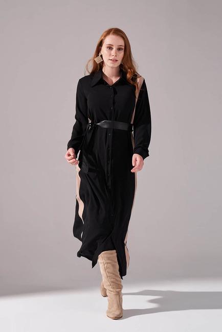 Mizalle - Şerit Detaylı Bej Gömlek Elbise