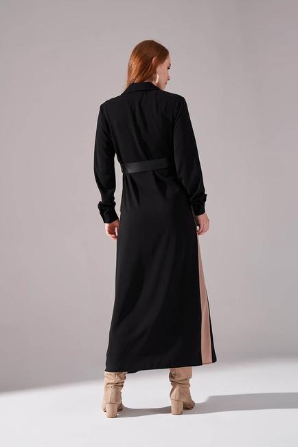 Şerit Detaylı Bej Gömlek Elbise - Thumbnail