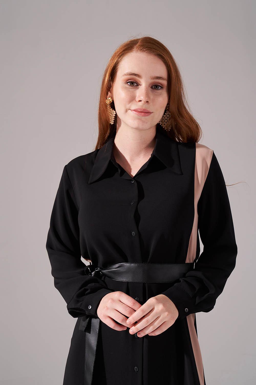Şerit Detaylı Bej Gömlek Elbise