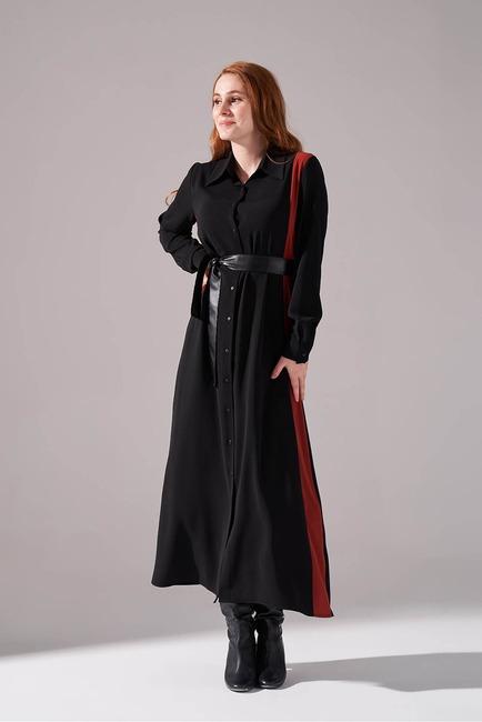 Mizalle - Şerit Detaylı Kiremit Gömlek Elbise