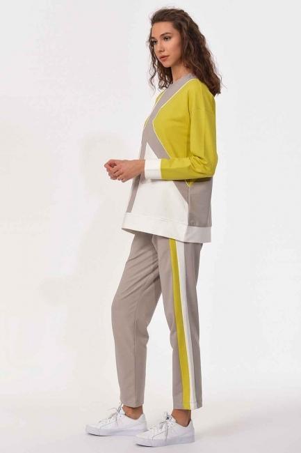 MIZALLE - Stripe Detailed Sweatshirt (Green/Ecru) (1)