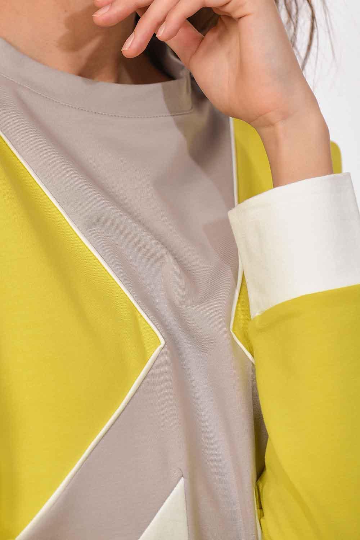 MIZALLE Şerit Detaylı Sweatshirt (F.Yeşil/Ekru) (1)