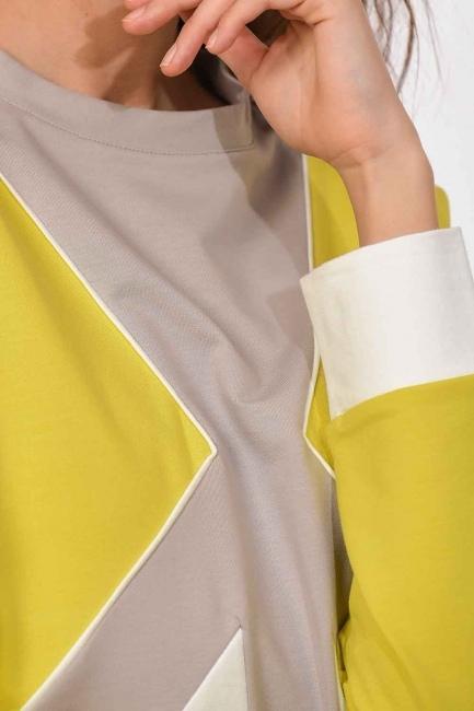 MIZALLE - Şerit Detaylı Sweatshirt (F.Yeşil/Ekru) (1)
